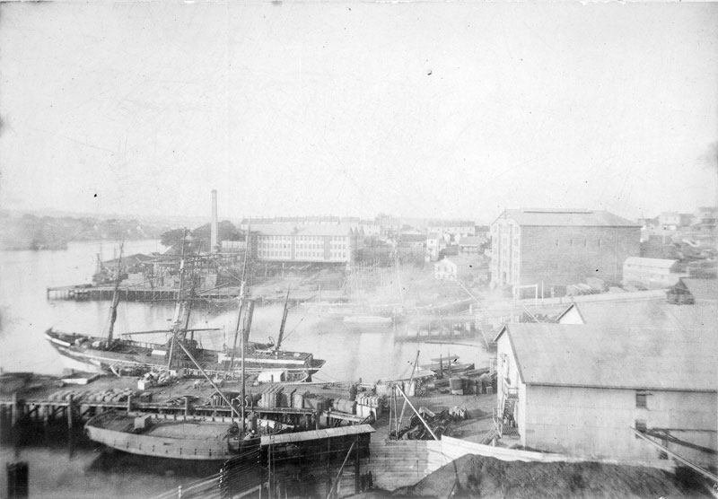 Free wharf at the CSR works, circa 1885