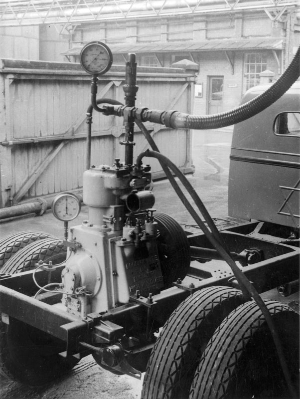 Emergency air compressor mounted on a 'Dodge' truck chassis, circa 1950