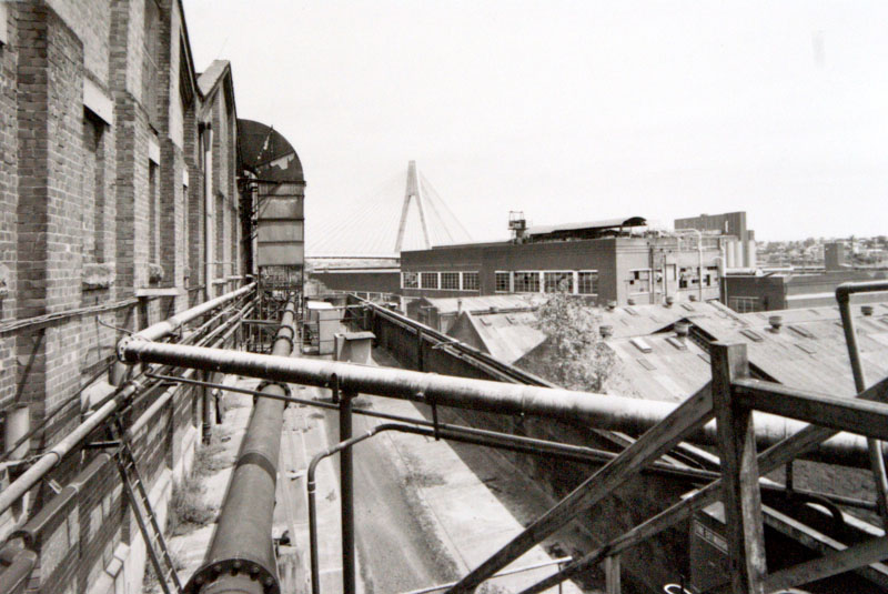 View to the Anzac Bridge across the caneite factory