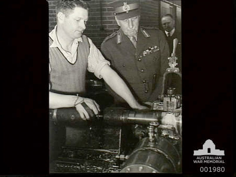 Governor General Lord Gowrie watching 18lb bomb shell cases being made 1940