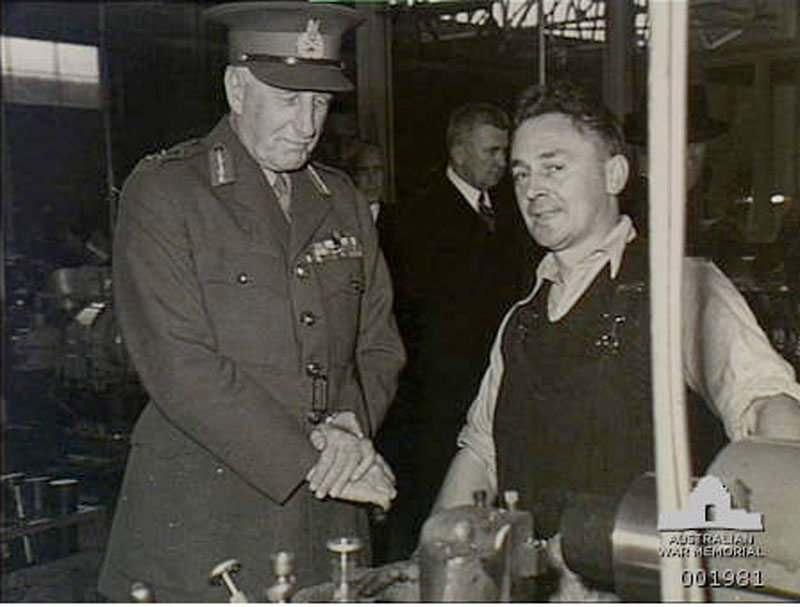 Governor General Lord Gowrie talks to a CSR employee 1940