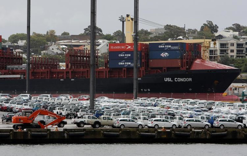 Glebe Island with cars and containers