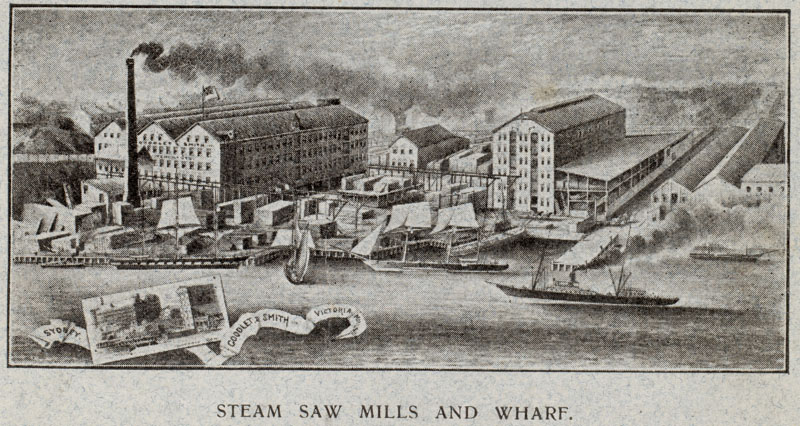 Goodlet & Smith's steam saw mills and wharf