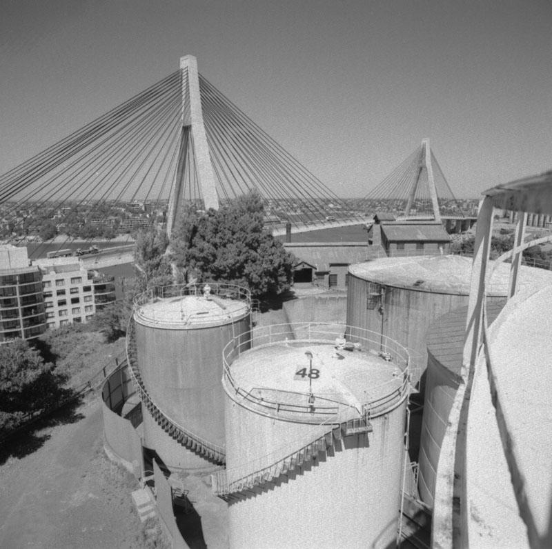 Molasses tanks and the Anzac Bridge
