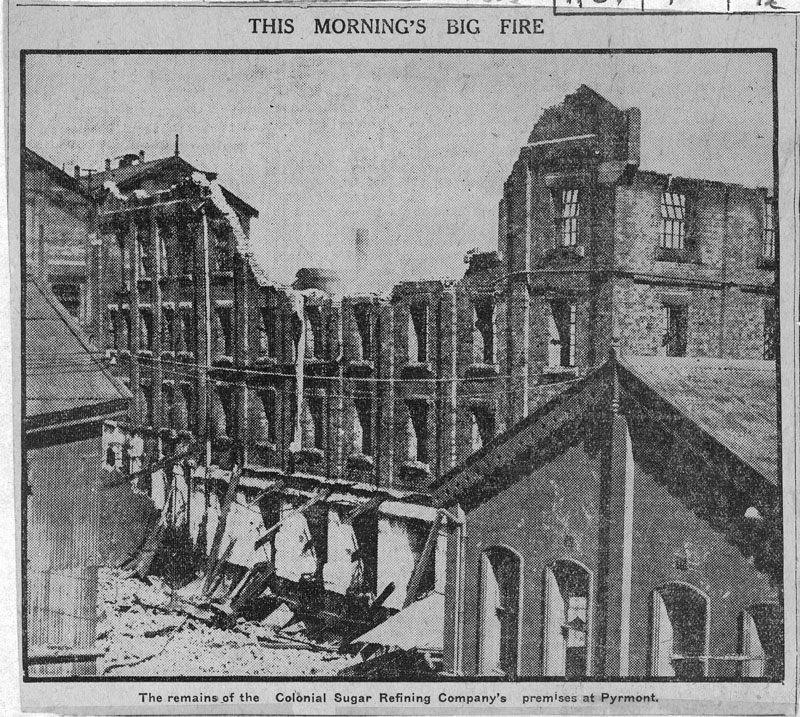 This morning's big fire - remains of CSR's premises at Pyrmont, October 1918