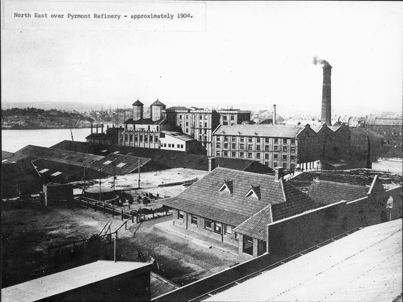 Looking north-east over the refinery, circa 1904