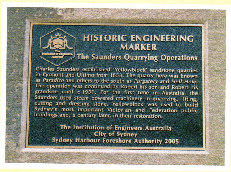 Historic plaque – Saunders quarrying operations