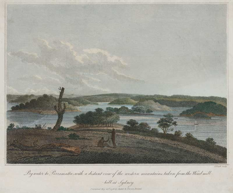 Harbour west from Millers Point 1798. J. Heath, By water to Parramatta, with a distant view of the western mountains, taken from the Windmill-hill at Sydney.