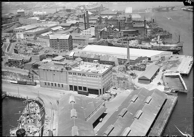 Industrialisation of Pyrmont Point in the late 1920s, in Kent, M, Further collection of negatives, chiefly aerial views of Sydney ca 1930-1970