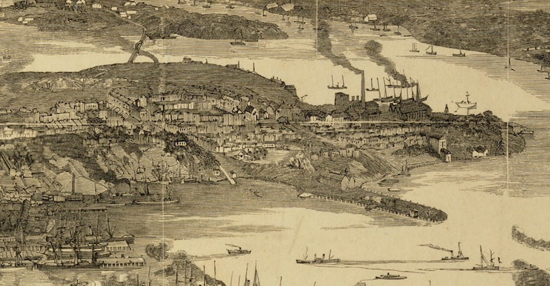 Aerial View of the Pyrmont peninsula from Sydney 1890