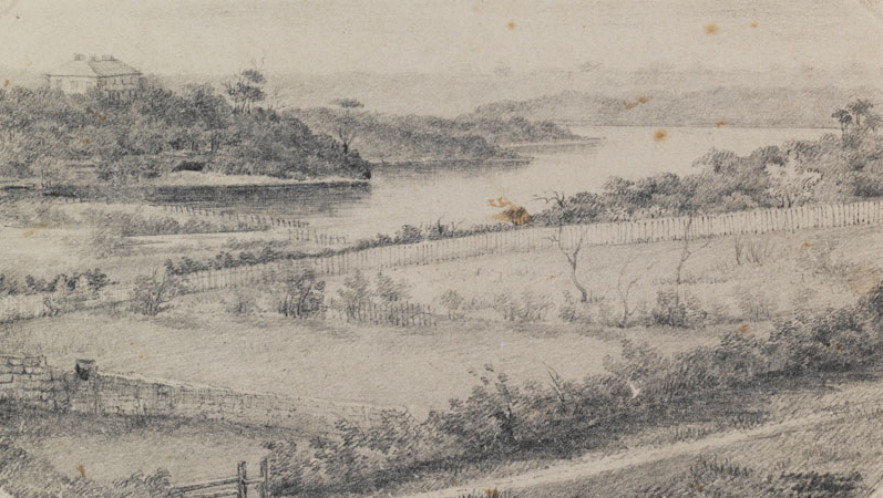 E. Manning, 1837, View of Blackwattle Bay from Ultimo House