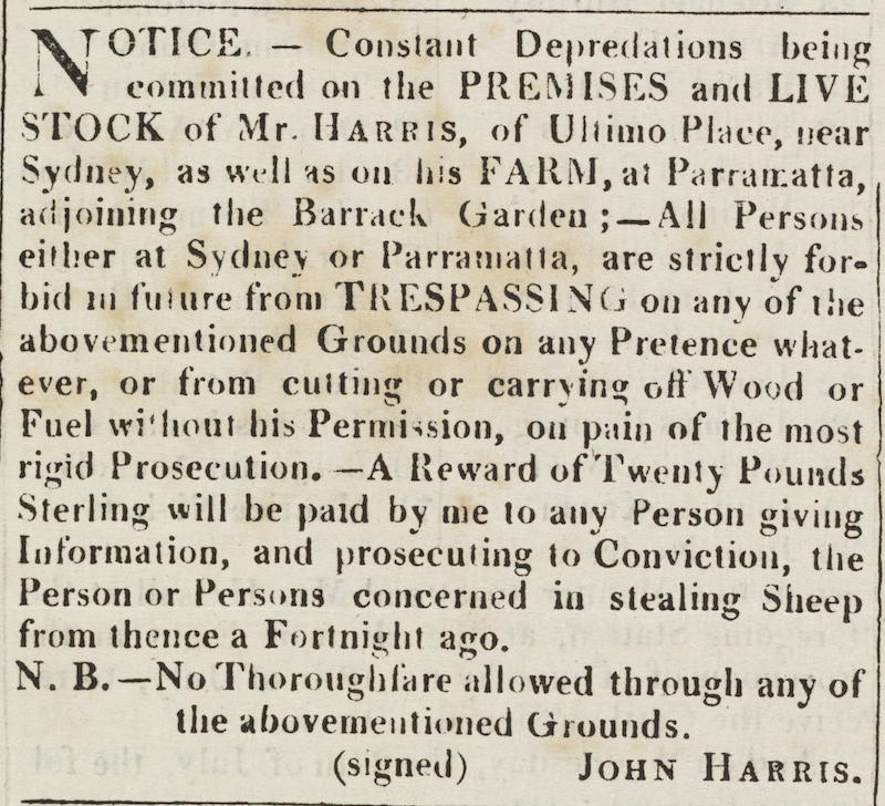 J. Harris, 1816, Notice. State Library of NSW. Sydney Gazette and New South Wales Advertiser,