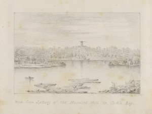 John Thompson, View from Sydney of the Haunted Mill in Cockle Bay 1832, in Sketches in New South Wales and Tasmania, 1827-1832.