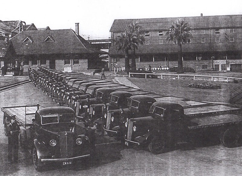 Fleet of Morris commercial 5-ton trucks in Refinery Square 1939