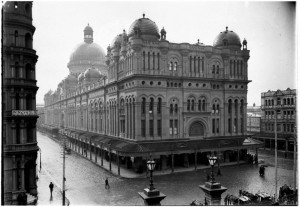 Perier, A. J., Queen Victoria Market viewed from Town Hall at the time of the Market's opening.