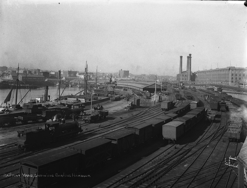 Railway yard showing Darling Harbour.
