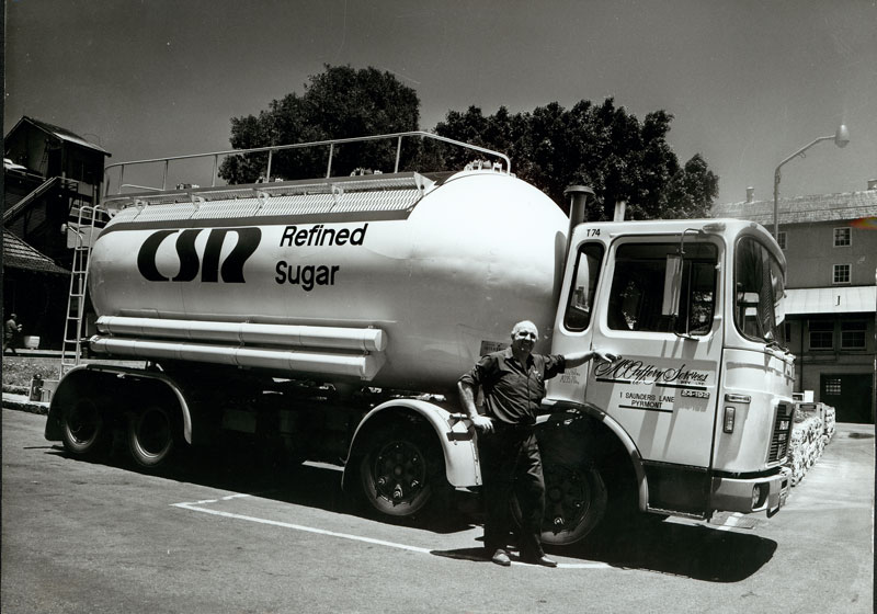 Refined sugar is transported by McCaffery Services Pty Ltd , circa 1980